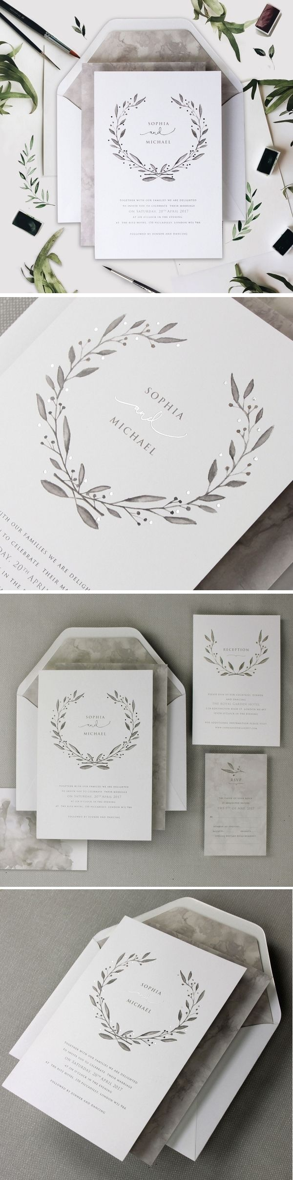 Elegant Watercolour u0026 Marble Wedding Stationery 15