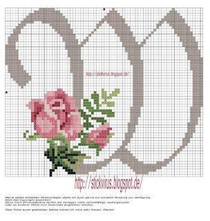 alphabet - w - rose - point de croix - cross stitch - Blog : http://broderiemimie44.canalblog.com/