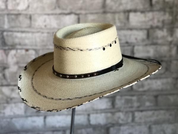 d9cb476c653df Classic Cattleman premium palm leaf, 4 rolled brim with hand woven stripe  accent on brim edge, brim and crown, and embroidered genuine leather  hatband and ...