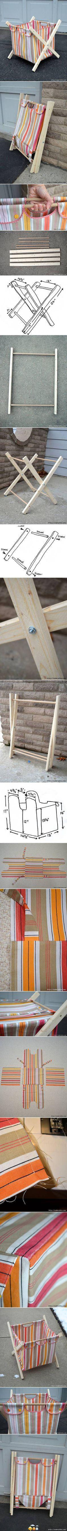 Cesto en tela y madera
