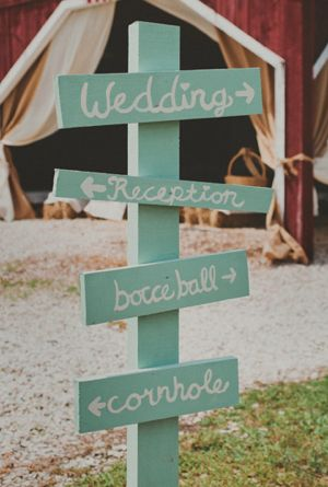 Mint wedding signs.