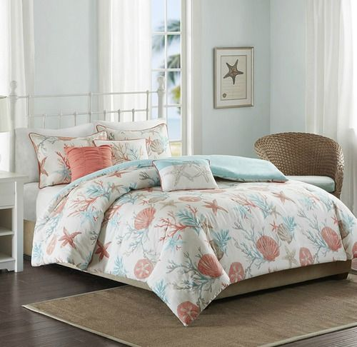 For a beautiful coastal update, infused with our favorite shades of aqua and coral,  the Pebble Beach 6-piece Queen Size Duvet Set will be perfect for your coastal bedroom.  Printed on 210 thread coun