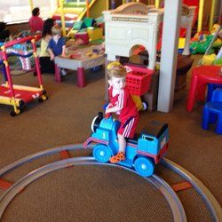 Kinderland Café - Any boy who's obsessed with Thomas the Train will love this battery operated train that goes round and round a real track! - Las Vegas, NV, United States