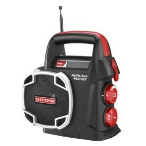 """Craftsman 19.2 Volt Radio Am/fmaux,""""weather Radio"""" by Craftsman. $55.99. Built to perform in the toughest circumstances, this unit is much more than a radio. Complete with AM/FM radio, 7 weather-band frequencies, MP3 connection with 10 in. MP3 cable and digital display. Uses C3 19.2 volt battery pack. Offers 7+ hours of run time. 2 lbs.   AM/FM/Weather Band (7 weather channels) PLL Digital Tuning - Tuning and volume knobs; tuning knob also controls seek function Low voltage in..."""