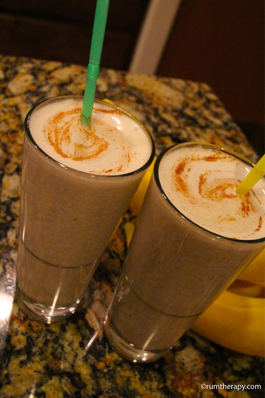 Dirty Banana  (makes 2 servings)  2 oz. Tia Maria  2 oz. dark rum  2 oz. rum cream liqueur  4 oz. milk  1 oz. simple syrup  3/4 banana  Ice    Fill blender 3/4 way with ice and all ingredients. Blend until thick and smooth. Pour into glasses and sprinkle the top with cinnamon, allspice or nutmeg or add a floater of Tia Maria.