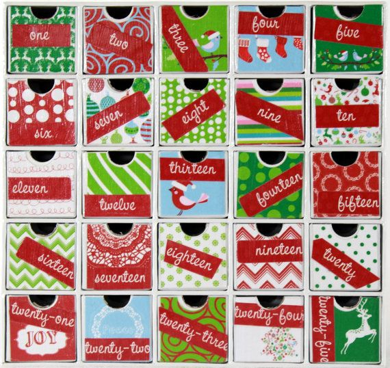 Children's Advent Calendar - Advent Countdown Calendar - Drawers - Non-Traditional Colors - Reusable - Christmas Family Tradition - WDA 010