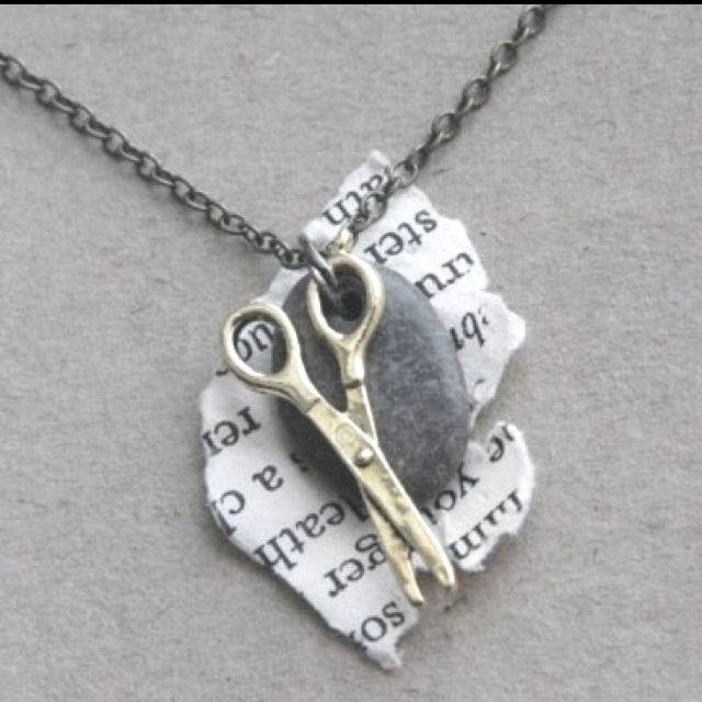 Rock paper scissors necklace. would be even better if it had a lizard and a hand shaped in Spock's greeting on it! Yep! I'm a nerd!