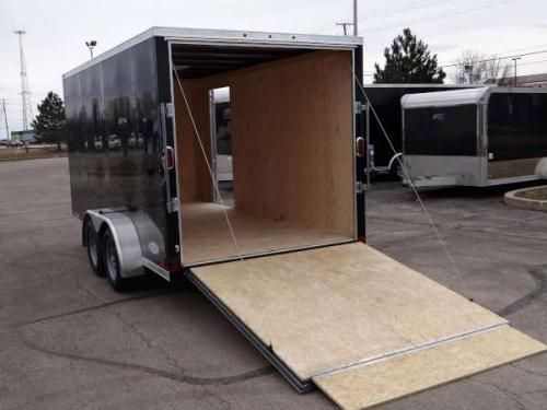 Enclosed Black X ATC U2013 Aluminum Trailer Company Cargo Trailer With Nose  Wedge. + Nose With A Rear Ramp Door, A Side Door, Stone Guard, Roof Vent,  ...