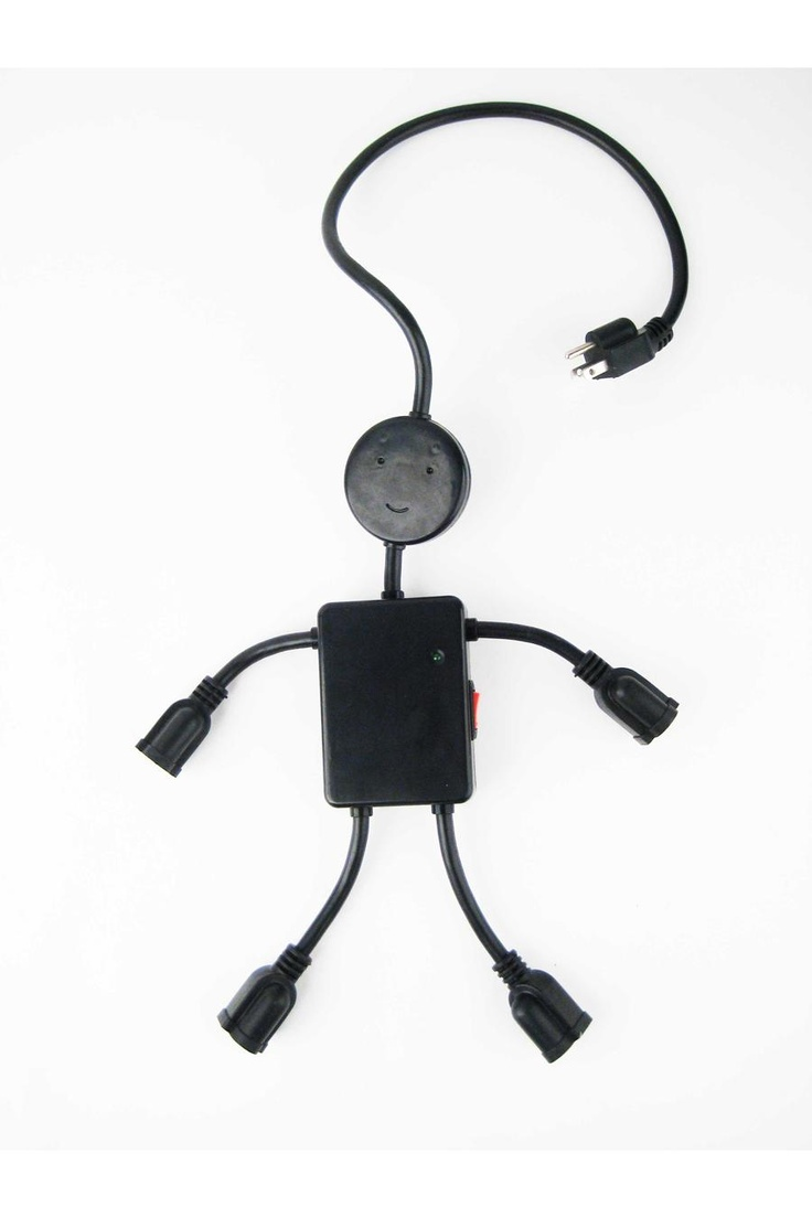 Kikkerland Electro Man Multi Outlet BlackSmall Appliances, Multi Outlets, Fab Com, Outlets Black, Man Black, Body Open, Products, Electro Man, Man Multioutlet