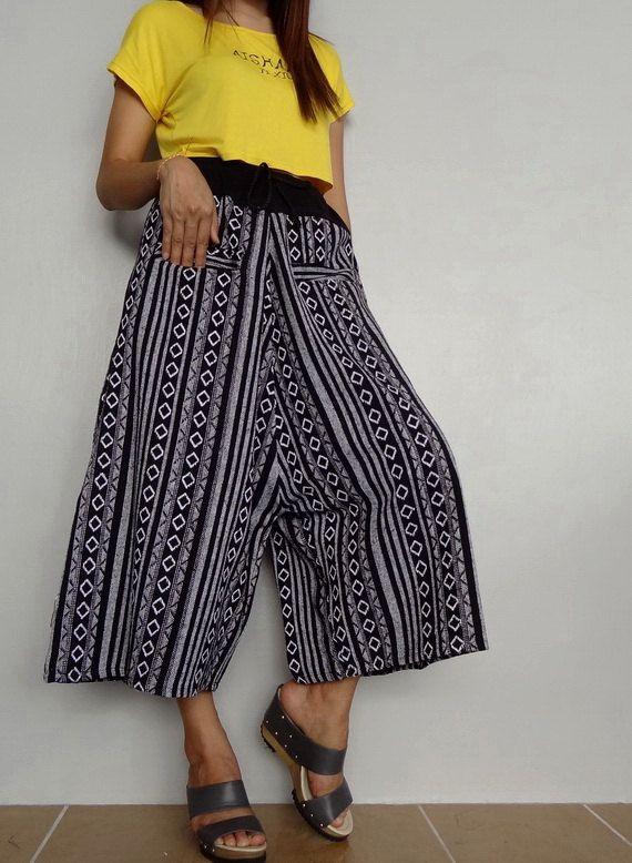 Unisex Capri Drop Crotch Pants,Harem Wide Legs Trouser, Tribal Woven fabric (pants-W6A). by Brightfashion on Etsy