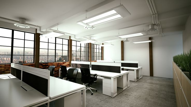 Great warehouse inspired office interior design with white sqStation work benches from @howimports #interior #office #furniture #workspace #architecture #commercial