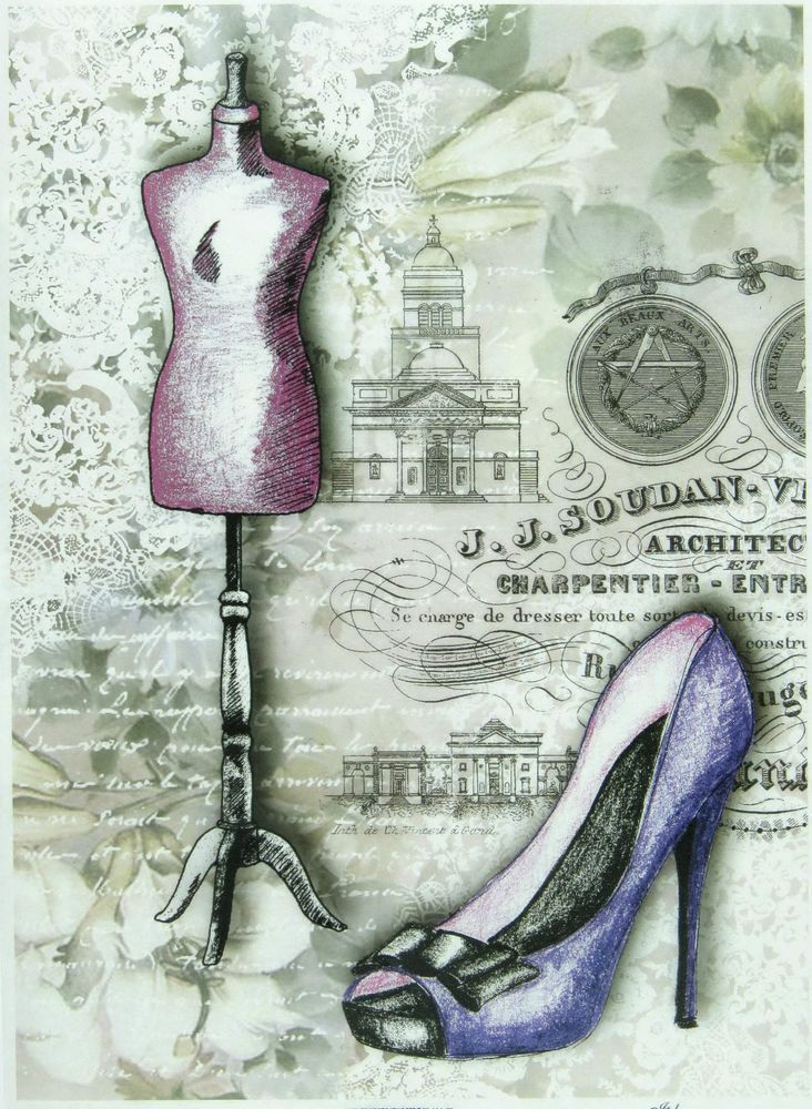 Ricepaper / Decoupage paper, Scrapbooking Sheets High Hill Shoes Violet