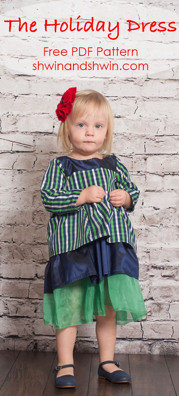 Holiday Dress Pattern || Free PDF Pattern || Shwin&Shwin  sizes 12 mos to 8 yrs
