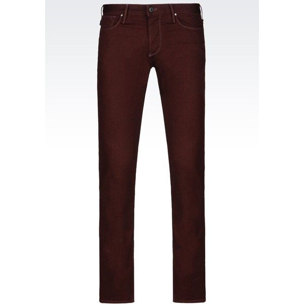 Armani Jeans Jeans ($175) ❤ liked on Polyvore featuring men's fashion, men's clothing, men's jeans, bordeaux and mens button fly jeans