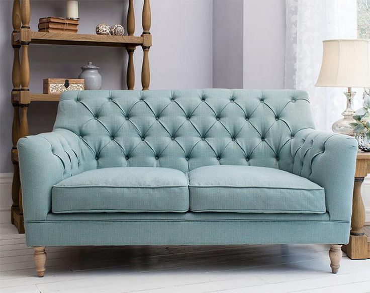Contemporary Gallery Hudson Living Leona 2 Seater Sofa in Aquamarine