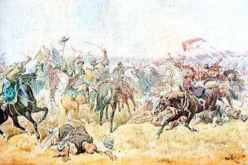 La batalla de Zborow-----Juan Sobieski, quien se encontraba en Lublin, se unió a las fuerzas del Starosta de Jaworow formando y comandando su propia bandera de caballería. Juan Sobieski participó en la batalla de Zborow, la que fue su primera batalla. Los polacos lograron la victoria en la batalla en la que tuvo una gran importancia la caballería polaca17 y Jmelnytsky fue obligado a firmar una tregua.