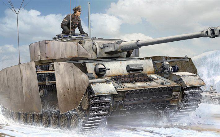 Télécharger fonds d'écran Medium tank, armored vehicles, la Wehrmacht, Panzer IV, PagKpfw IV Ausf J, Germany