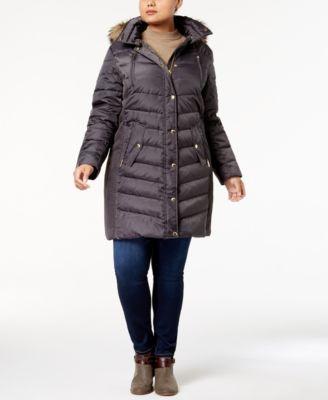 MICHAEL KORS MICHAEL Michael Kors Plus Size Faux-Fur-Trim Down Coat, Created for Macy's. #michaelkors #cloth #