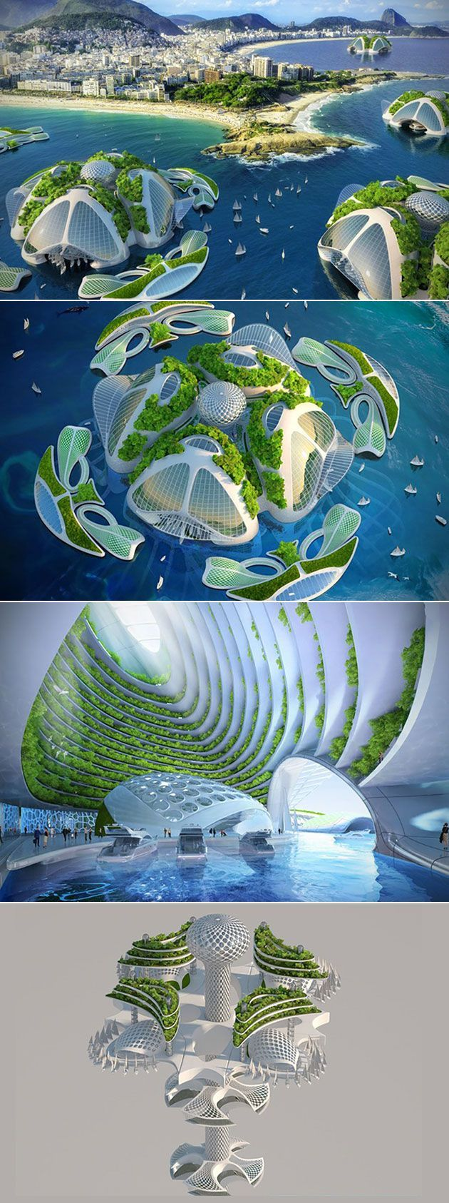 Architect Vincent Callebaut's creation Aequorea is a stunning 3D-printed oceanscraper settlement.           The village can not only house up to 20,000 people, but it is also self-sufficient, thus reducing Earth's carbon footprint.    Above the surface are the entrance and some docks. Spiraling 1,000-meters down are the homes, offices, workshops, science laboratories, sea farms, agricultural areas, as well as the shared orchards.