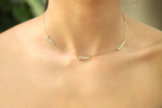 18k Solid Gold Three Names Necklace / Personalized Gold Stacked 3 Names Necklace…
