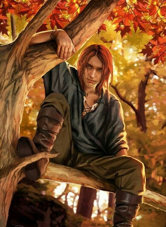 There Autumn sat, with soft red hair and a crown of golden leaves. He gazed down at me from the branches of a strong tree, one I'd never seen before, and pinned me in place with narrow brown eyes. He was draped in warm colours, but a distinct chill hung in the air around him and burrowed into my bones.