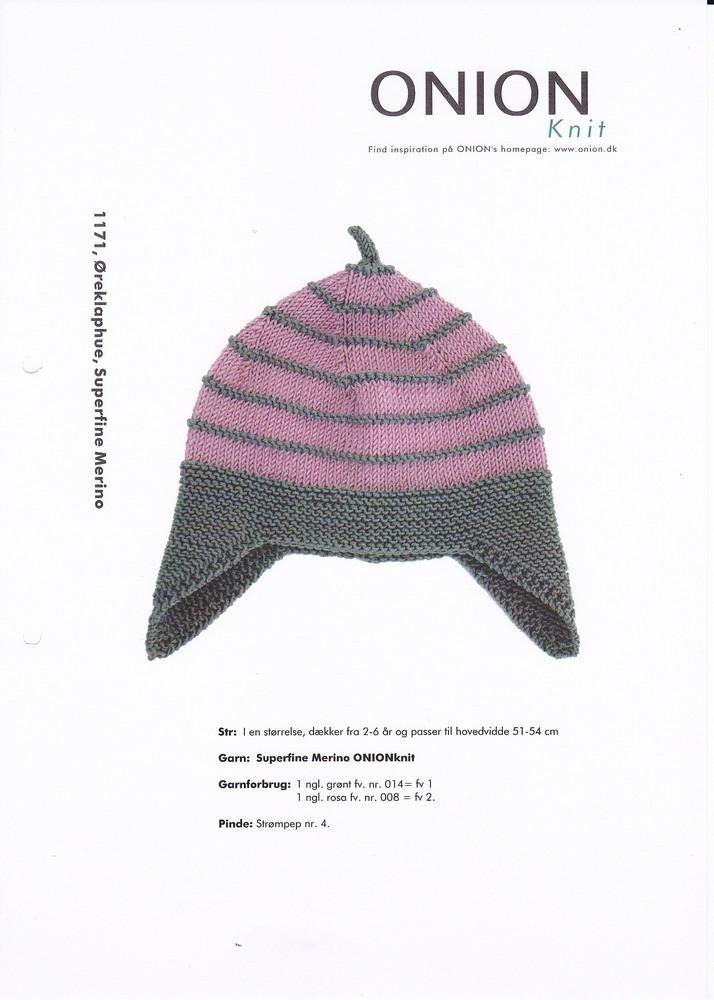 Onion Knit Superfine merino, strikkeopskrift børn: Øreklap hue