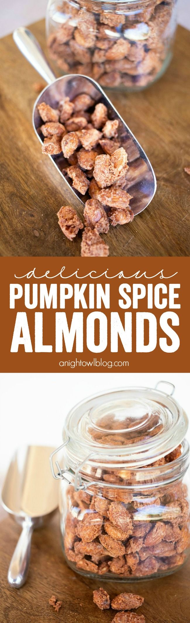 These Pumpkin Spice Almonds are easy to make and the perfect snack for the holiday season! Would also make a great gift!