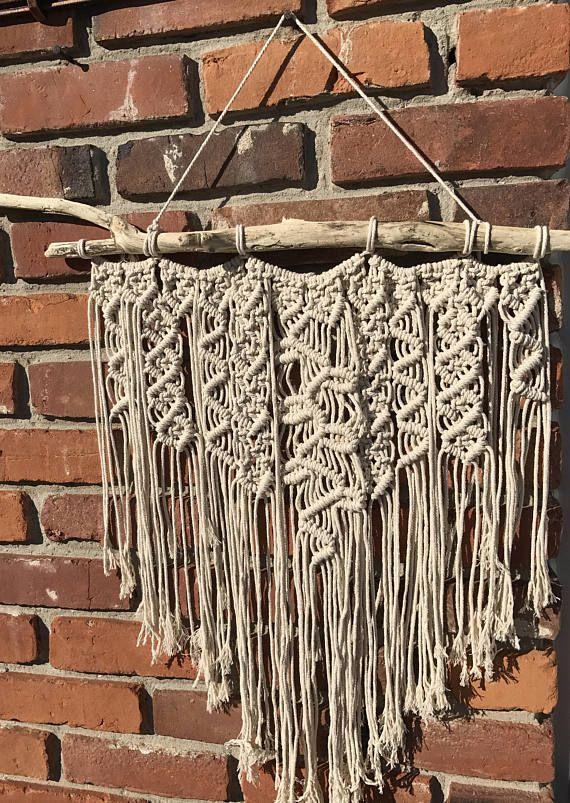 Macrame wall hanging cotton cord modern macrame boho hippie ecelectic home decor fiber art huronshoreart