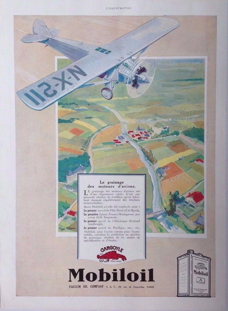 MOBILOIL VACUUM GEO HAM ART DECO AD RETRO GARGOYLE 1920s original vintage advert
