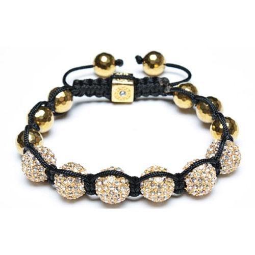 Gold Faceted Bead Crystal Bead Unisex Shamballa Inspired Bracelet 12mm