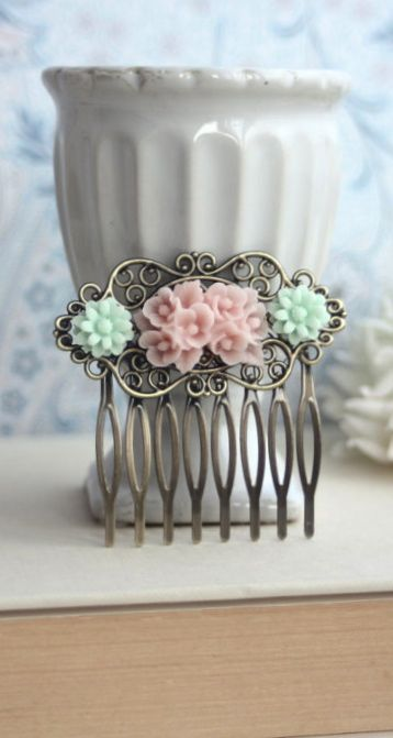 Pink and Mint Flower Collage Flower Hair Comb. Bridesmaids Hair Piece Accessory, Wedding Comb. Bridesmaid Gifts. Pale Pink and Mint Wedding.