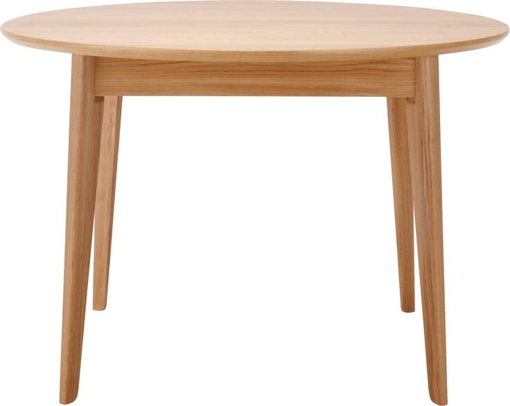 Moder spisebord med uttrekksmuligheter. Dimensjoner: D110 x H.75cm, utslått: L155 cm. Kr. 7090,-
