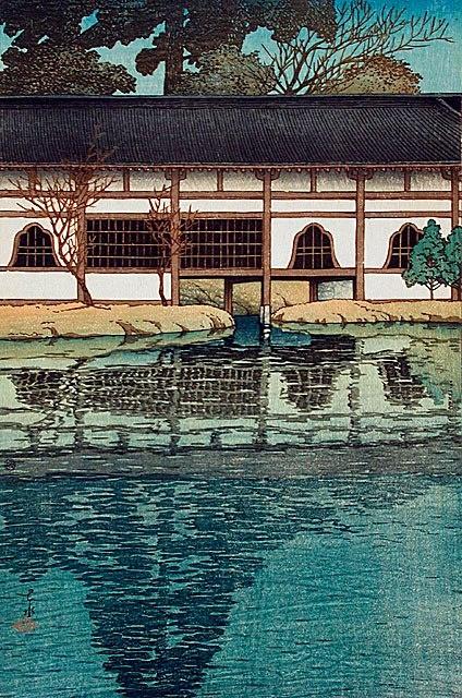 """Corridor of Byodo-in at Uji"", Hasui Kawase (1883-1957) - 1921. — at LACMA Los Angeles County Museum of Art."