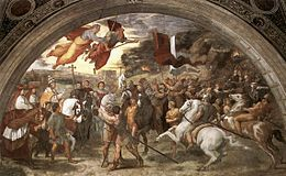 Raphael's The Meeting between Leo the Great and Attila, depicts Leo, escorted by Saint Peter and Saint Paul, the meeting of the Hun King outside of Rome.