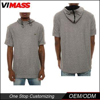 Wholesale mens short sleeve 100% cotton grey tall hoodies