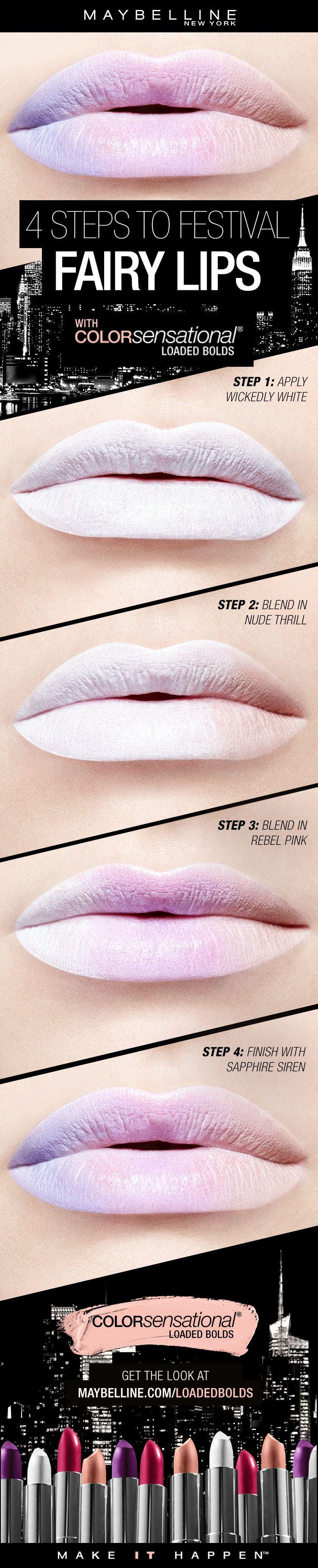 Get this gorgeous pastel ombre lip art look for your music festival makeup in four easy steps. First, apply our Loaded Bolds Lipstick in 'Wickedly White' all over the lip. Next, blend 'Nude Thril'l in to one third of the lip. Next, blend 'Rebel Pink' in the middle of the lip. Then, apply 'Sapphire Siren' on the other third of the lip.