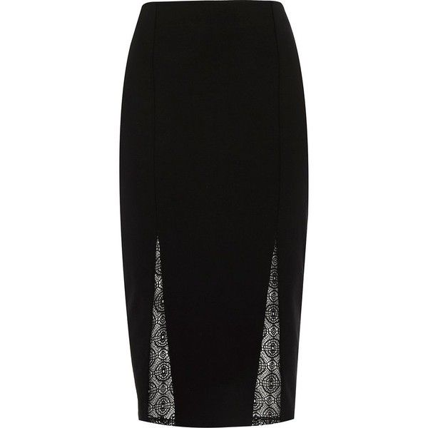 River Island Black lace inset pencil skirt (185 SAR) ❤ liked on Polyvore featuring skirts, black, tube / pencil skirts, women, river island, panel skirt, black knee length skirt, tube skirt and pencil skirt