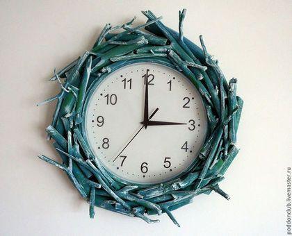 """Часы для дома ручной работы. Ярмарка Мастеров - ручная работа. Купить Часы """"Гнездо"""". Handmade. Морская волна, часы интерьерные"""
