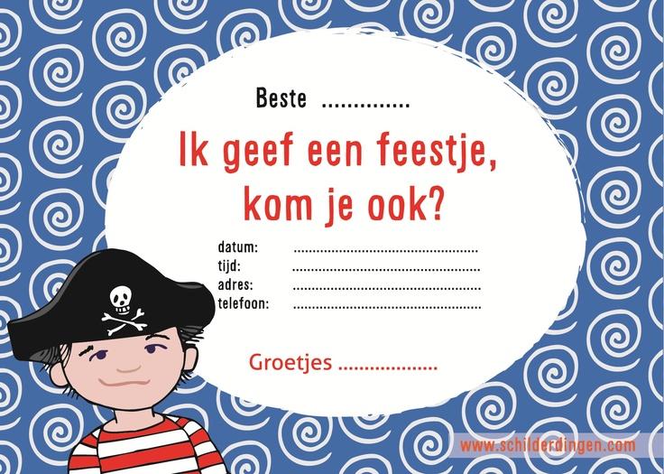 Achterkant uitnodiging 'Piraat'