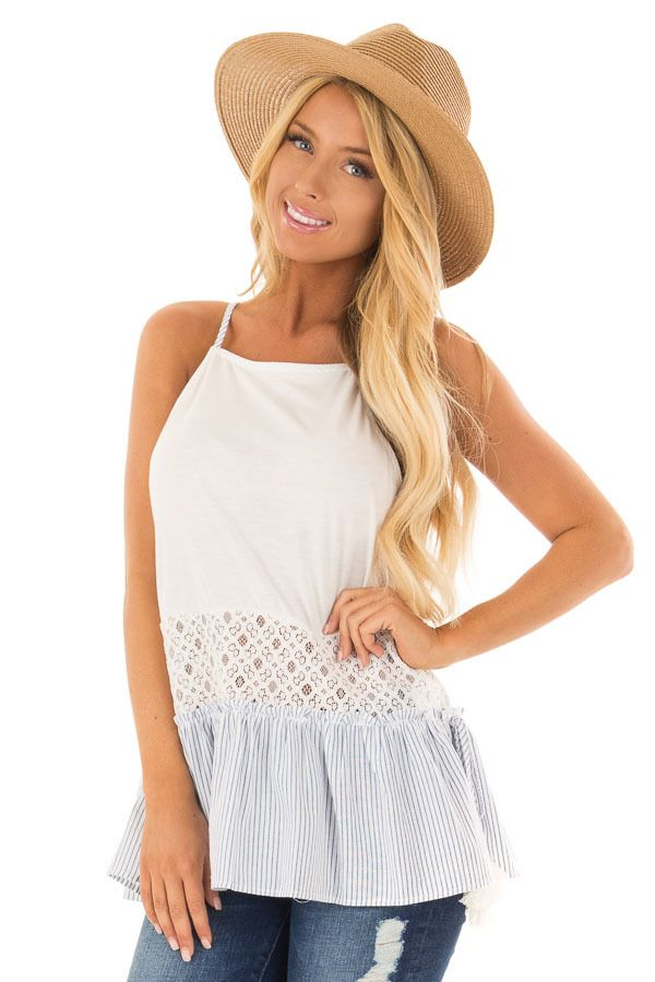 6b1bd380aa903 Lime Lush Boutique - Off White Tank Top with Striped Trim and Lace  Contrast