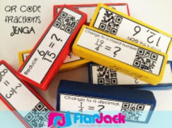 This self-checking resource contains 54 labels to adhere to Jenga blocks to use in the game of Jenga or simply as building blocks. Each label has a fraction problem along with a QR code answer that can be scanned to check students' accuracy. Problems are based on fourth grade fraction common core standards.Click here for more fun resources on fractions.OTHER FRACTION RESOURCESFraction QR Code Fun BundleEquivalent Fractions, Decimals, and Percentages Peep PokeFraction Poke Game Bundle (Common…
