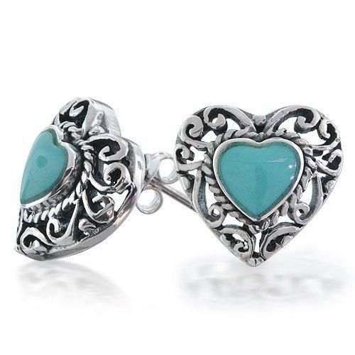 Bling Jewelry 925 Silver Antique Style Turquoise Heart Stud Earrings