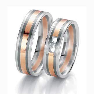 Argollas en oro platino, blanco rojo en oro de 18k y diamantes, fabricación por encargo