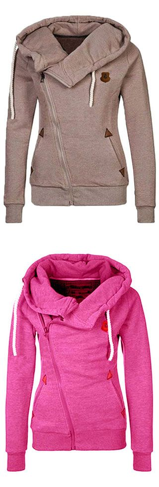 Solid Color Long Sleeves Casual Style Hoodie | You can find this at => http://feedproxy.google.com/~r/amazingoutfits/~3/KuPtUniBwOU/photo.php