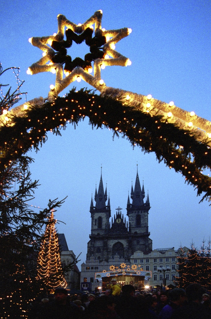 Christmas decorations in the centre of Prague
