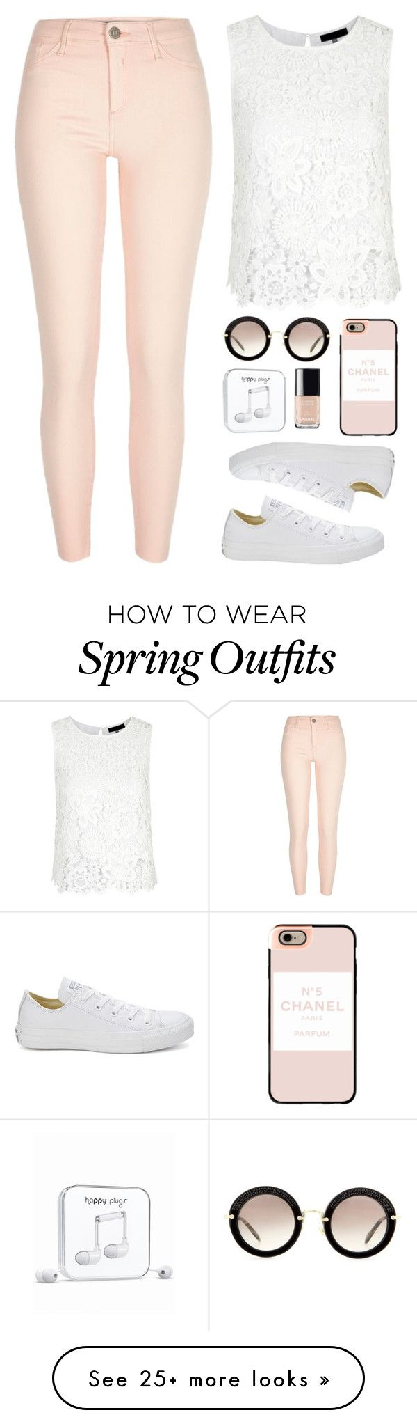 """Spring Outfit"" by aurorabc on Polyvore featuring River Island, Converse, Happy Plugs, Chanel, Miu Miu, Casetify, women's clothing, women, female and woman"