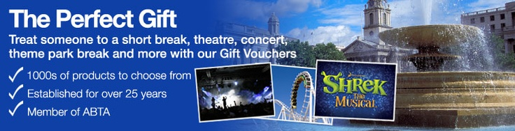 Hotel Vouchers - Gift Vouchers for Weekend Breaks  Looking for the perfect gift for any occasion? Then look no further than our choice of gift vouchers. Superbreak offers a variety of gift ideas which are perfect for those difficult to buy for friends and relatives. Purchase online today and use the vouchers to select from a wide range of hotels, theatre, golf, spa and attraction breaks in top destinations... Read more
