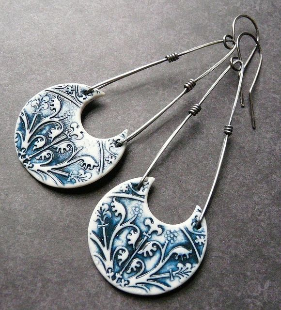 Nancy (Round Rabbit) has such great style!!! Long Athena Earrings - Porcelain & Sterling