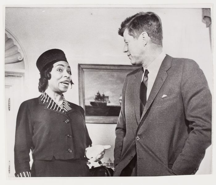 President John F. Kennedy speaking with singer Marian Anderson, Washington, D.C. | International Center of Photography. Date: March 22, 1962