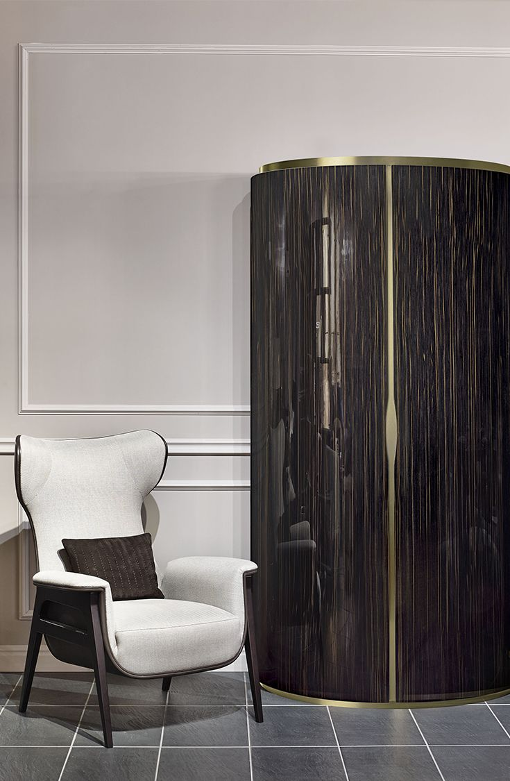 Cerva armchair and Asja cabinet by Fendi Casa, 2014 Collection, Luxury Living Group